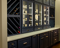 elegant wall cabinetry with wine rack