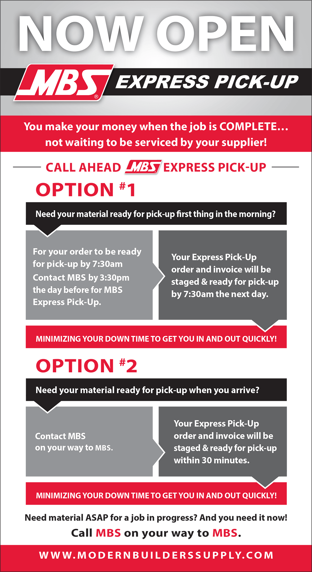 mbs express pick up then you will just go to the mbs express pick up service door our express pick up service team will respond rapidly to your express pick up order