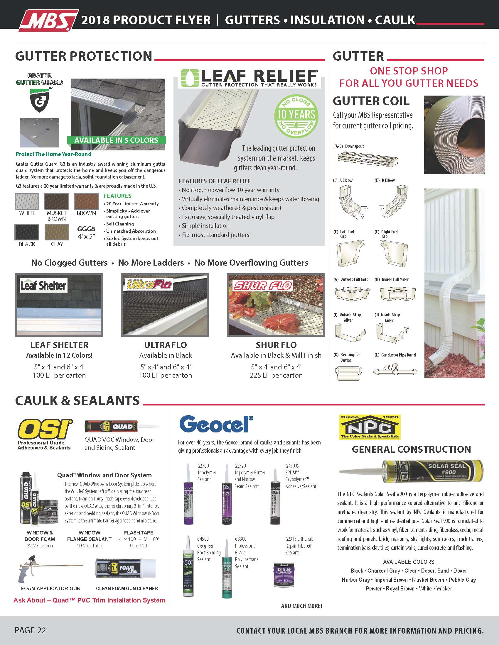 gutters, insulation, caulk flyer